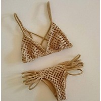 Hollow Beach Bikini Set Swimsuit Swimwear