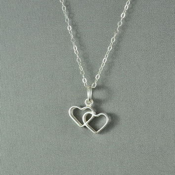 Double Heart Necklace, 925 Sterling Silver, Modern, Simple, Pretty, Everyday Wear Jewelry