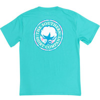CORAL LOGO TEE SHIRT IN TURQUOISE BY THE SOUTHERN SHIRT CO.