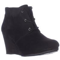 S.C. Alaisi Lace Up Wedge Booties - Black