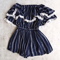 Paper Hearts - Playa Del Carmen Off The Shoulder Romper in Navy