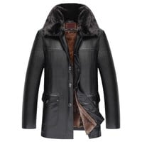 coat men Fashion Pure Color Lapel Button Medium Length Imitation Leather Coat parka winter jacket men