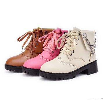 Women's Lace Up Chains Short Boots