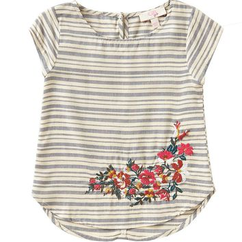 GB Girls Little Girls 4-6X Striped Floral-Embroidered Top | Dillards