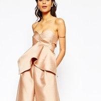 Solace London Missy Structured Bandeau Top With Asymmetric Peplum