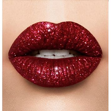 Holiday red glitter lipstick collection