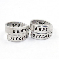 Personalized Best Bitches Ring Set, Best Friend Initials Match Rings, BFF Hand Made Aluminum Ring, Besties Friendship Jewelry Wrap Rings
