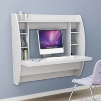 White Floating Desk with Storage