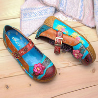 SOCOFY Women Casual Printing Splicing Flat Leather Shoes