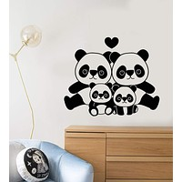 Vinyl Wall Decal Cartoon Panda Family Asian Animals For Children's Room Stickers (2592ig)