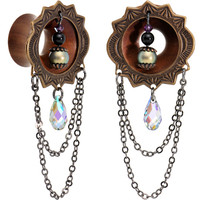 "5/8"" Organic Wood Dangle Tunnel Set Created with Swarovski Crystals 