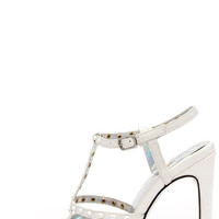 Luichiny That a Girl White Snakeskin Studded Pointed Heels