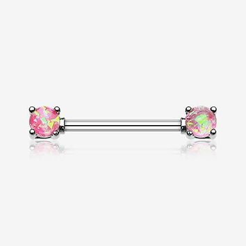 A Pair of Opal Sparkle Prong Steel Nipple Barbell Ring
