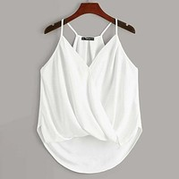 Asymmetrical Hem Wrap Cami Shirt Top Tee