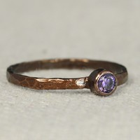 Classic Bronze Copper Amethyst Ring