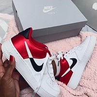 Nike Air Force 1 Silk Contrast Classic Women Men Leisure Sport Running Shoes Sneakers