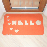 Floor mat: Hello with hearts. Cut out doormat. Home decor.