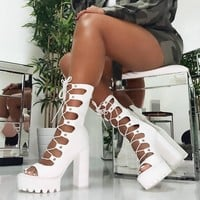 Women White Open Toe Lace Up Ankle Boots Sandals