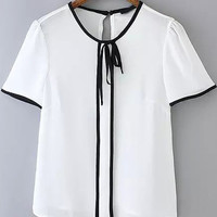 White Short Sleeve Contrast Tie-neck Blouse