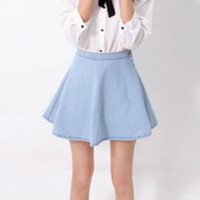 High-Waisted Side Button Jeans Skirt
