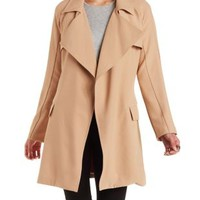 Tan Tie Waist Trench Coat by Charlotte Russe
