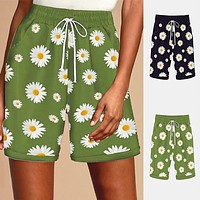 2020 new women's daisy print wide-leg shorts