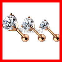 Rose Gold Prong Set Gem Cartilage/Tragus 316L Surgical Steel Tiny Stud Earrings 16g Labret Stud Cartilage Helix Piercing Tragus Tragu Hex