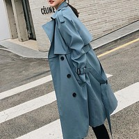 Double Breasted Sash Belt Notched Collar Loose Trench Coat.