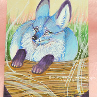HOLIDAY SALE Blue Fox Kitsune Original copic Marker Drawing Aceo Artist Card