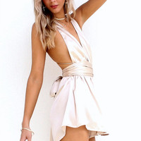 SATIN SILK OYSTER - MULTIWAY PLAYSUIT – Sisters The Label