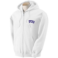 Texas Christian Horned Frogs NCAA Solid Arch Logo FullZip Hooded Fleece (Medium)