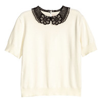 H&M Fine-knit Top with Lace Collar $24.99