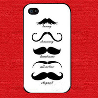 Mustache White Background Apple On iPhone 4 Case, Waterproof iPhone 4s Case, iPhone 4 Hard Case, iPhone Case-iphone 4s cover
