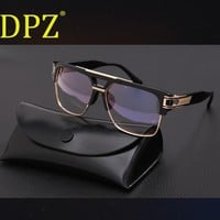 DPZ hot-selling steampunk double-beam men sunglasses Women retro square MACH High quality UV400 protective ditaeds sun glasses
