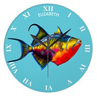 Psychedelic Colorful Triggerfish Fish Drawing Large Clock
