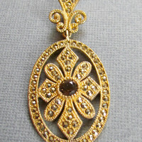 Gold Pendant Marcasite Accents Topaz Stone Sterling Vermeil