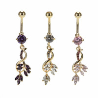 1Pc Sexy Leaf Dangle Navel Bar Ring Gold / Silver Plated Piercing Jewelry surgical steel belly button rings