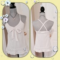 Hollister White Bow Ruffle Cami