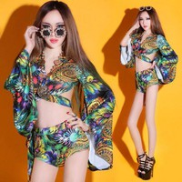 PEAPGC3 (top+shorts) female costume sets print dress nightclub sexy women DS new dance bar singer DJ stage singer hollow show party