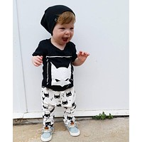 2017 New Fashion baby boy clothing set infant clothes unisex short-sleeved cartoon T-shirt+pants 2pcs newborn baby girl clothes