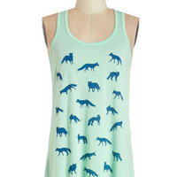 ModCloth Critters Mid-length Tank top (2 thick straps) Check All the Foxes Tank