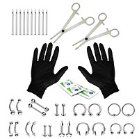 BodyJ4You 36PC Piercing Kit Stainless Steel 14G 16G Belly Ring Tongue Tragus Eyebrow Nipple Lip Nose