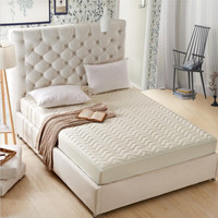 1-Piece Solid Color Mattress Topper Bed Sheets Quilted Fitted Sheet Queen Size Cover Of Memory Foam Mattress Pocket Depth 30cm