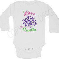 I Love My Aunt / Auntie / Nana / Grandma / Grandpa Baby Onesuit or Kid's T-Shirt - 3 colors with musical notes.