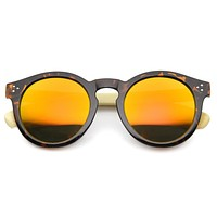 Eco Bamboo Wood Temple Round Mirror Lens Sunglasses 9805