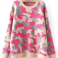New Women Rose-Carmine Camouflage Print Knit Sweater