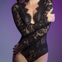 Sexy Eyelash V-Plunge Long Sleeved Teddy with Microfiber Cups