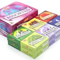 HEM Assorted Incense Cones - 12 Packs of 10 Cones Each - With 6 Different Scents: Vanilla, Cinnamon, The Moon, Green Tea, Coconut, Red Rose