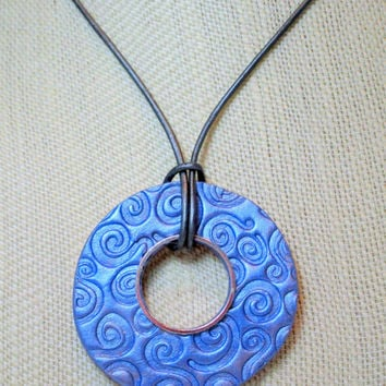 Metallic Blue Aromatherapy Diffuser Necklace, Handmade Clay Oil Diffuser Necklace with Gunmetal Leather Cord