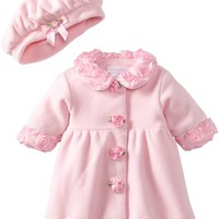 Bonnie Baby-girls Newborn Fleece Coat And Hat Set